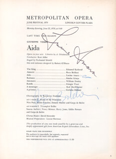 Autographs: LUCINE AMARA - PROGRAM SIGNED 06/22/1970 CO-SIGNED BY: RUZA BALDANI