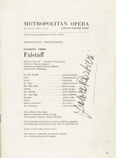 FEDORA BARBIERI - PROGRAM SIGNED CIRCA 1967