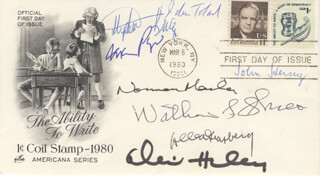ALEX HALEY - FIRST DAY COVER SIGNED CO-SIGNED BY: JOHN HERSEY, STEPHEN KING, ALLEN GINSBERG, NORMAN MAILER, MARIO PUZO, JOHN W. TOLAND, WILLIAM L. SHIRER