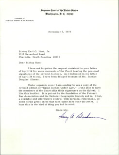 Autographs: ASSOCIATE JUSTICE HARRY A. BLACKMUN - TYPED LETTER SIGNED 11/06/1975