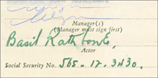 BASIL RATHBONE - CONTRACT SIGNED 03/04/1953