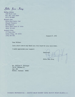 BILLIE JEAN KING - TYPED LETTER SIGNED 08/27/1973