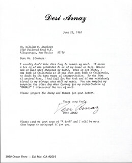 DESI ARNAZ SR. - TYPED LETTER SIGNED 06/20/1980