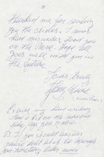 HARRY WIERE - AUTOGRAPH LETTER SIGNED 09/01/1987