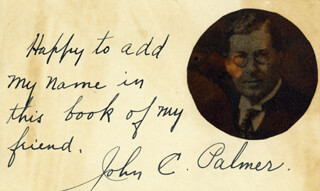 JOHN C. PALMER - AUTOGRAPH NOTE SIGNED
