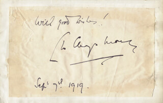 LEO CHIOZZA MONEY - AUTOGRAPH SENTIMENT SIGNED 09/07/1919