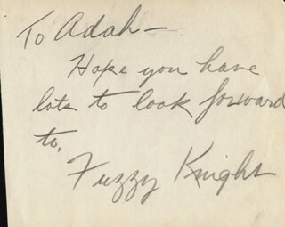 FUZZY KNIGHT - AUTOGRAPH NOTE SIGNED