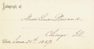 MARIE LOUISE DURAND - PRINTED CARD SIGNED IN INK 06/20/1869