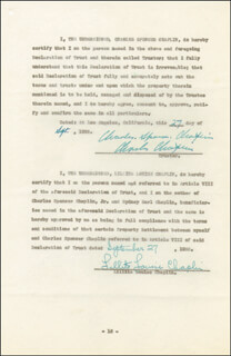 Autographs: CHARLIE THE LITTLE TRAMP CHAPLIN - DOCUMENT SIGNED 09/27/1935 CO-SIGNED BY: LITA GREY CHAPLIN