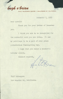 HUGH O'BRIAN - TYPED LETTER SIGNED 12/07/1957