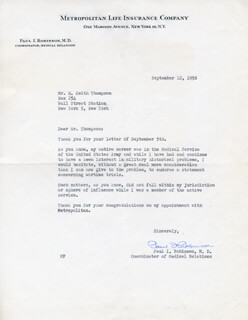 PAUL I. ROBINSON - TYPED LETTER SIGNED 09/12/1958