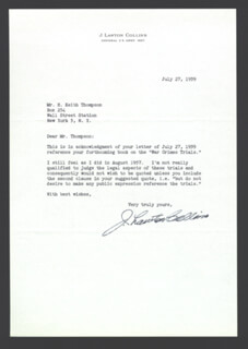 GENERAL J. LAWTON COLLINS - TYPED LETTER SIGNED 07/27/1959
