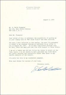 GENERAL J. LAWTON COLLINS - TYPED LETTER SIGNED 08/07/1959