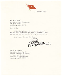 BRIGADIER GENERAL PETE DAWKINS - TYPED LETTER SIGNED 01/07/1982