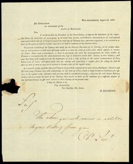 Autographs: MAJOR GENERAL HENRY DEARBORN - LETTER UNSIGNED 08/03/1807