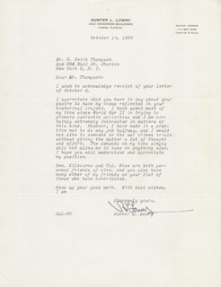 LT. GENERAL SUMTER L. LOWRY - TYPED LETTER SIGNED 10/17/1958