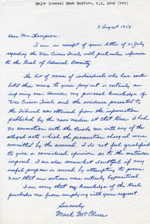 MAJOR GENERAL MARK McCLURE - AUTOGRAPH LETTER SIGNED 08/02/1958