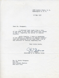 GENERAL G. C. THOMAS - TYPED LETTER SIGNED 05/16/1957