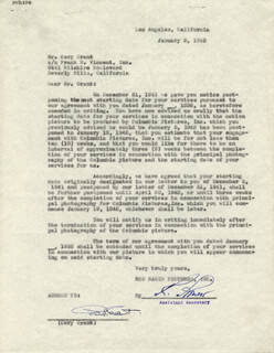 CARY GRANT - TYPED LETTER SIGNED 01/02/1942