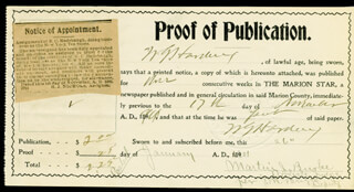 PRESIDENT WARREN G. HARDING - DOCUMENT SIGNED 01/26/1901 CO-SIGNED BY: J. M. BRIGET