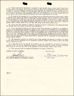 CHICO (LEONARD) MARX - CONTRACT SIGNED 04/30/1947