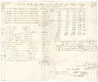 AARON LOPEZ - AUTOGRAPH DOCUMENT UNSIGNED 10/01/1767 WITH NATHANIEL BRIGGS