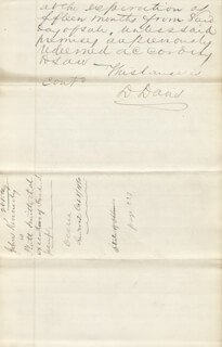 ASSOCIATE JUSTICE DAVID D. DAVIS - AUTOGRAPH DOCUMENT SIGNED 10/08/1861