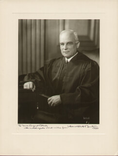 ASSOCIATE JUSTICE HAROLD H. BURTON - INSCRIBED PHOTOGRAPH MOUNT SIGNED 11/05/1945