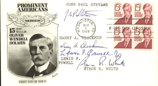Autographs: ASSOCIATE JUSTICE HARRY A. BLACKMUN - FIRST DAY COVER SIGNED CO-SIGNED BY: ASSOCIATE JUSTICE BYRON R. WHITE, ASSOCIATE JUSTICE LEWIS F. POWELL JR., ASSOCIATE JUSTICE JOHN PAUL STEVENS