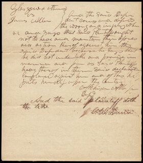 Autographs: DAVID R. ATCHISON - AUTOGRAPH DOCUMENT SIGNED 12/17/1840 CO-SIGNED BY: G. W. DUNN
