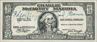EDGAR BERGEN - CURRENCY SIGNED CO-SIGNED BY: FRANCES BERGEN