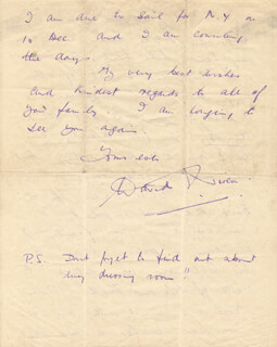 DAVID NIVEN - AUTOGRAPH LETTER SIGNED 10/4