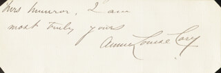 ANNIE LOUISE CARY - AUTOGRAPH NOTE SIGNED