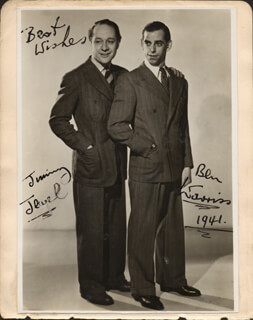 JEWEL & WARRISS (BEN WARRISS) - AUTOGRAPHED SIGNED PHOTOGRAPH 1941 CO-SIGNED BY: WALLACE LUPINO, JACK WARNER