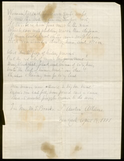 SAMUEL AUSTIN ALLIBONE - INSCRIBED AUTOGRAPH POEM SIGNED 04/19/1881