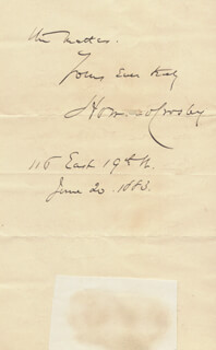 HOWARD CROSBY - AUTOGRAPH LETTER SIGNED 06/20/1883