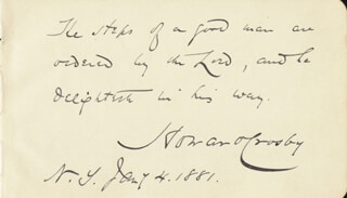 Autographs: HOWARD CROSBY - AUTOGRAPH QUOTATION SIGNED 01/04/1881