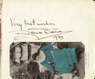 ZENA DARE - AUTOGRAPH SENTIMENT SIGNED 1939