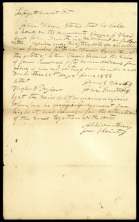 Autographs: DAVID R. ATCHISON - AUTOGRAPH DOCUMENT SIGNED 06/25/1833 CO-SIGNED BY: HUGHES P. TAYLOR, JOHN SMITH, JAMES G. HARRIS