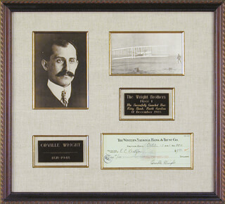 ORVILLE WRIGHT - AUTOGRAPHED SIGNED CHECK 10/13/1945