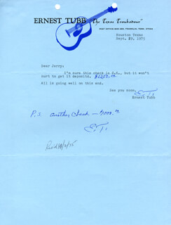 ERNEST TUBB - TYPED LETTER TWICE SIGNED 09/29/1975