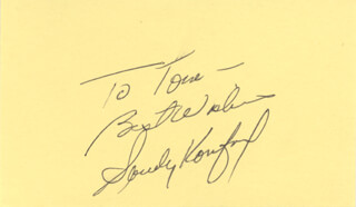 SANDY KOUFAX - AUTOGRAPH NOTE SIGNED