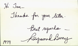 RAYMOND BERRY - AUTOGRAPH NOTE SIGNED 1979