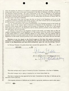CLARK GABLE - CONTRACT SIGNED 10/29/1954