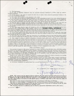 CLARK GABLE - CONTRACT SIGNED 12/03/1953