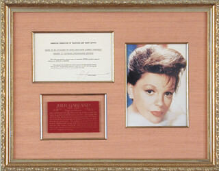 JUDY GARLAND - DOCUMENT SIGNED