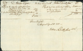 Autographs: AARON LOPEZ - AUTOGRAPH DOCUMENT SIGNED 04/18/1770