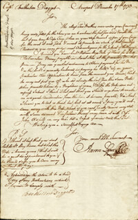 Autographs: AARON LOPEZ - AUTOGRAPH DOCUMENT SIGNED 12/07/1773 CO-SIGNED BY: BROTHERTON DAGGETT