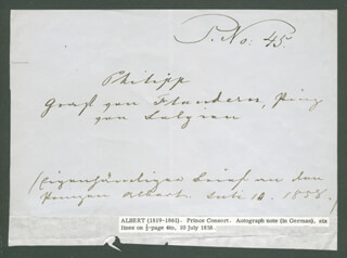 Autographs: PRINCE THE GOOD ALBERT (GREAT BRITAIN) - AUTOGRAPH NOTE SIGNED 07/10/1858