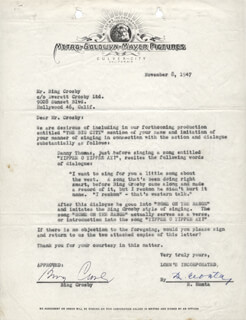 BING CROSBY - DOCUMENT SIGNED 11/08/1947
